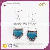 E75312402 Fox silver gps earrings for women vintage blue gemstone rhinestone chandelier bridal long drop wedding earrings