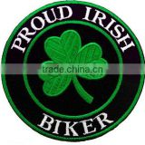 PROUD IRISH BIKER EMBROIDERY PATCH CLOVER SHAMROCK IRELAND
