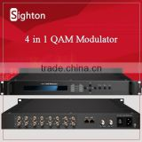 cable tv equipment multi asi or dvb-s2 input to 4 qam digital channel modulator