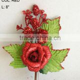 "2014 Fresh Artificial Christmas Red Flower Pick 8"" Artificial Rose Flower With Berries And Leaf"