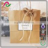 recycled kraft paper wedding bag with logo printed,kraft paper gift bag for brithday