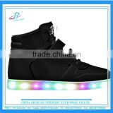 black comfortable kids LED skate shoe, latest design kids LED sport shoe, top selling kids LED flat shoe