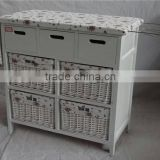 Painting Cabinet Living Room White panited paulownia wood ironing cabinet with 3 drawers 4 white willow baskets