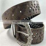 cheap price PU faux sanding leather garment belt diamond for Euramerican Market