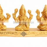 Handmade Beautiful Brass Set of Ganesh Ji Laxmi Ji Saraswati Ji on Singhasan - Hinduism Religious Spritual Idols Temple Home