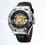 wholesale fashion men skeleton automatic watches see-through case back water proof watch