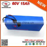 Cylindrical 16S7P 18650 Lithium Cells Rechargeable 60v 15Ah Battery Pack for Portable DVD Player / 900W Electric Scooter