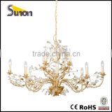 SD0640-8+4 factory prices wrought Iron gold foil color chandelier with clear crystal decorative living room
