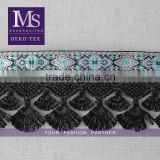 Wholesale 5.7cm scalloped shaped fringe trimming, Black tassel fringe, high-grade jacquard ribbon