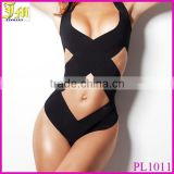 2015 Hot Sex Black Bandage Strappy Bikini Sexy One Piece Swimwear Women Swimsuit Bathing Suit Front Wrap XL