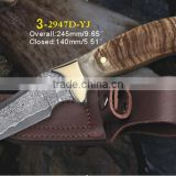 2016 new arrival Damascus steel pocket knife outdoor EDC knife with sandal wood handle