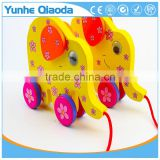 colorful Pull Along elephant Wooden Toy as you pull they make a fun for baby