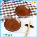 Wholesale Japanese Style Dessert Saucer Wood food plate, Round Wooden Small Dish for Afternoon Tea