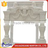 China indoor natural white marble fireplace surround with lion NTMF-F859S