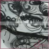 Black lace ribbon coiling french lace fabric, elegant sequin fabric for dress
