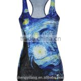 Top Fashion Women's Sublimation Printed Sleeveless T Shirt Vest Tank Tops sports clothes