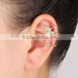 Rhinestone Crystal Butterfly Hollow Heart Double Earrings Cuff Metal Ear Wrap