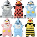 summer cartoon pattern hooded baby romper