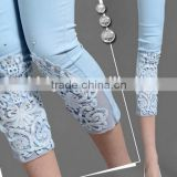 Lace crochet set auger China hand embroidered female new fertilizer increased the leggings yards 7 minutes of pants