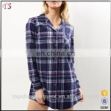 New arrivals wholesale blue oversize check shirt 100% cotton sleep shirt sexy women nightshirt