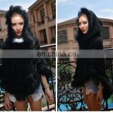 Latest fashion lady garments pullover raccoon fur rabbit fur knitted shawl cape