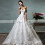 Wholesale Shopping Sales Online White Sweetheart Ball Gown Wedding Dresses Lace Bridal Dress Court Train Zipper Boda Trouwjurk