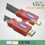 flat HDMI cable nylon sleeve support 3D ethernet bulk price