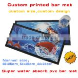 Customized PVC bar mat with full color printing, super water absorb rubber bar mat