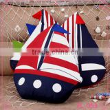 latest design fancy sailing boat cotton fabric cushion handicraft particular pillow made in China