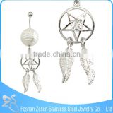 Medical Steel Banana Bar Hanging Zircon Dream Catcher 14G Belly Ring Body Piercing