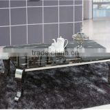 2016 Factory Supply Natural Black Marble Top Metal Stainless Steel Leg Coffee Table