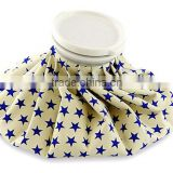 "6"" fabric ice bag white background with blue star designs"