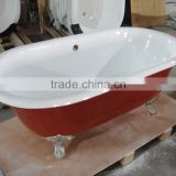 "free standing cast iron soaking bath tub with roll top rim 67"" RED"