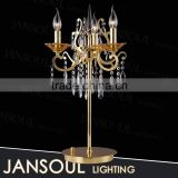 new design retro french style made in china indoor gold candle holder crystal chandelier glass table lamp