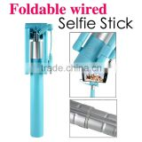 Trending hot products Amazon Photo taking cable wired telescopic pole foldable camera tripod blue monopod for oppo selfie stick