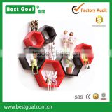 2 set of wooden wall show case hexagon show box in Black &Red DIY wooden wall Storage Boxes