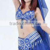 SWEGAL 2013 SGBDP13146 1color blue princess sex belly dance bra top and belt use costume 2pcs