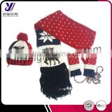 Cheap acrylic women winter knitting sets wholesale knitted scarf beanie and glove sets factory sales (accept custom)
