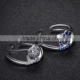 synthetic blue gemstone 3A CZ setting open ring new design ladies finger ring