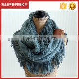 A-248 chunky crochet circle scarves knit neck warmers with tassels fringe tassel infinity scarf