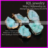 KJL-BD5440 Beautiful Druzy Pendant Nature Geode Quartz Druzy Pendants,Gold Plated Edged Crystal Quartz Drusy Gems Agate Pendant