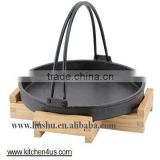 hot sale two handle cast iron hand carrying fry pan with wooden tray
