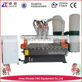 Auto Tool Changing Wood CNC Engraving Machine Changing 3 Spindles With Original NcStudio System Dust Collector ZK-1325