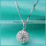 Wholesale Fashion Women 925 Sterling Silver Micro Pave Crystal Rhinestone Ball Pendant