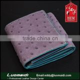 Guangzhou factory high-end ostrich leather lady wallet ,exotic leather women purse