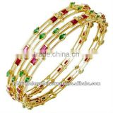 Ruby emerald gold bangle jewellery, Designer amazing gemstone bangles, Newest design gemstone gold bangle jewelry