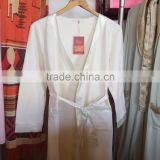 OEM factory Satin cuff without embroidery womens white bathrobes / long robe under wholesale