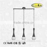 3x40w Black and white bowling shape vintage industrial pendant lamp
