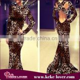 2015 sequined backless evening dress lady mature sexy vestidos bodycon dresses leopard backless maxi dress with long sleeve