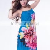 Latest fashion multi flowers panttern sexy ladies summer dress 2015
